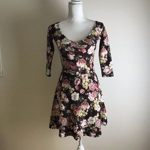 Forever 21 - Burgandy with pink flowers dress
